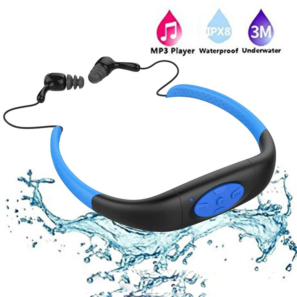 Waterproof MP3 Player,IPX8 Waterproof Headphones for Swimming,Work for 6-8 Hours Underwater 10 Feet ,Underwater Audio, waterproof earbuds,4GB Memory,with Shuffle Feature