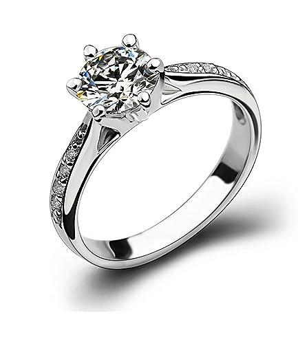 Promesa Anillo compromiso de la boda de la plata esterlina del anillo de diamante de la