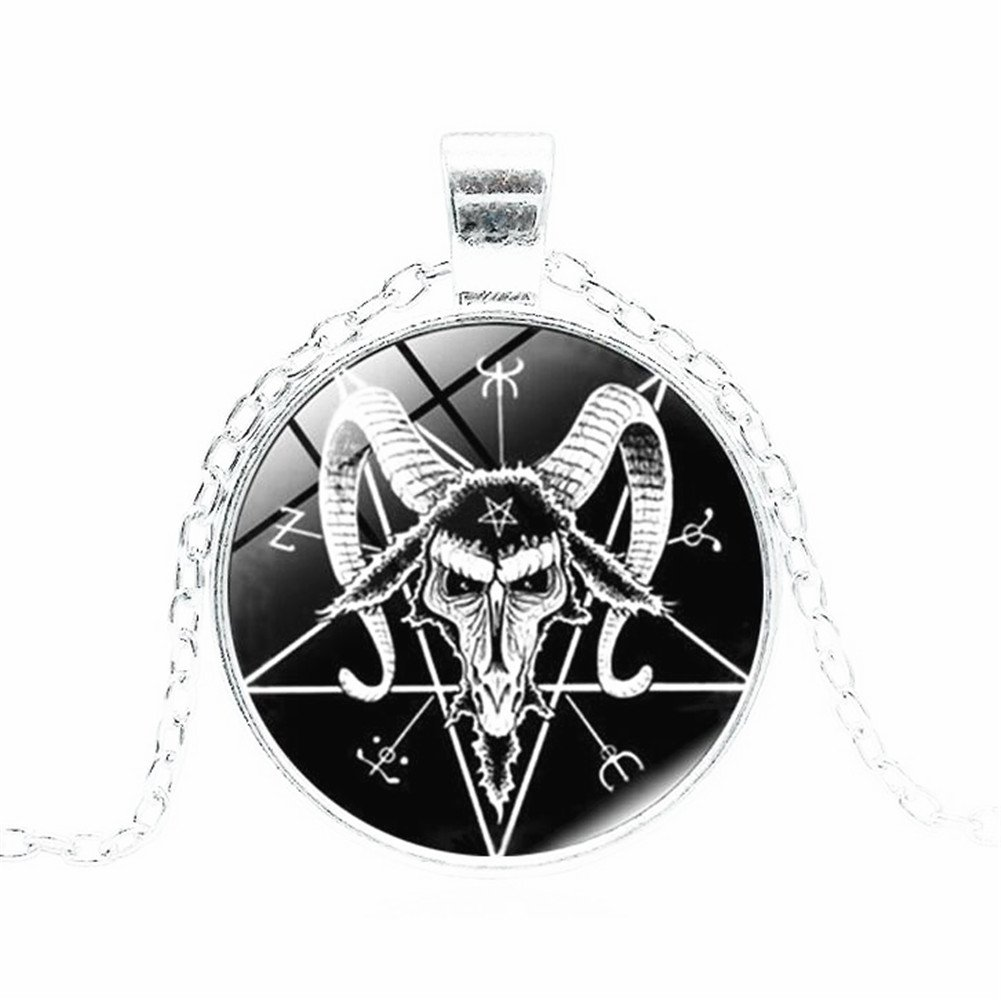 Baphomet inversé pentacle pendentif rétro satanique chèvre rituel collier de crâne HiSummit