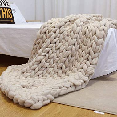 Pawaca Chunky Knit Blanket Throw, Baby Blanket by Soft Cable Yarn,Bulky Hand-Knitted Arm Wool Blanket,Knitting Soft Warm Super Large Bed Sofa Throw/Pet Chair Mat Rug,Queen King Big Size Beige 40 x40