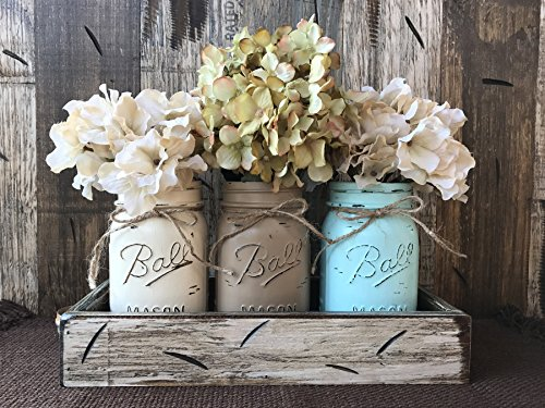 Mason Canning JARS in Wood Antique White Tray Centerpiece with (Dining Room Painted Side Table)