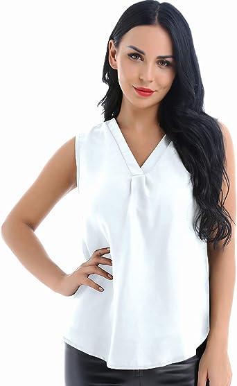 YiZYiF Camisa Casual Verano Blusas sin Manga para Mujeres Cuello en V Chaleco Elegante Color Sólido Blanco 2XL: Amazon.es: Ropa y accesorios