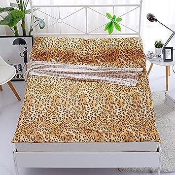 Zhiyuan Leopard - Saco de dormir para cama (100% algodón), diseño de leopardo, color amarillo: Amazon.es: Hogar