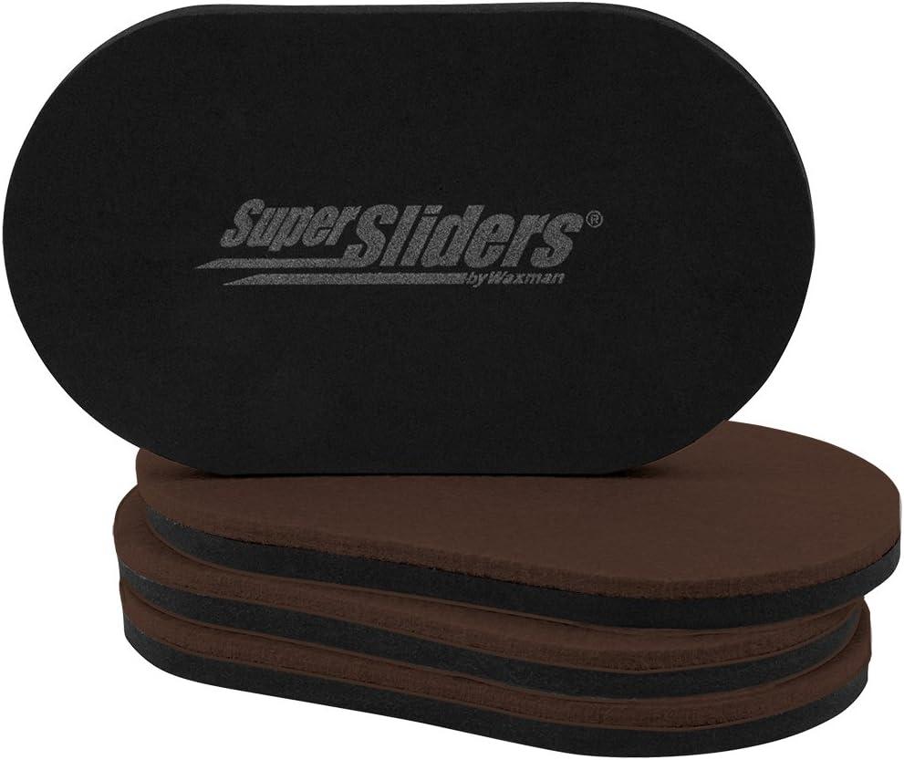 "SuperSliders 4726595N Reusable XL Heavy Furniture Movers for Hardwood Floors- Felt Floor Protectors, 9-1/2"" x 5-3/4"" Brown (4 Pack)"
