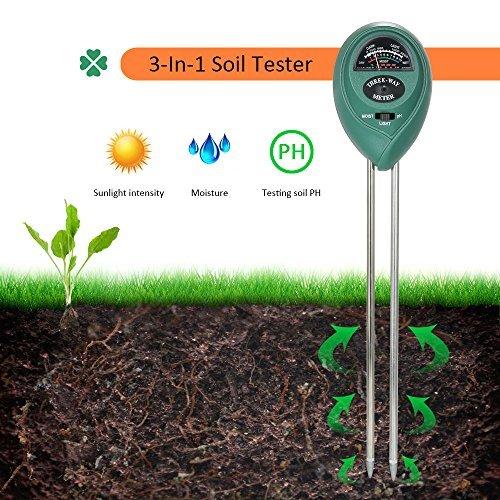 3-in-1 Soil Tester Soil Test Kit, PH & Moisture Sensor Meter Soil Water Monitor Plant Tester Light Intensity Meter Gardening Tool for Garden Lawn Farm Herbs Indoor/Outdoor Use. (No Battery Needed)