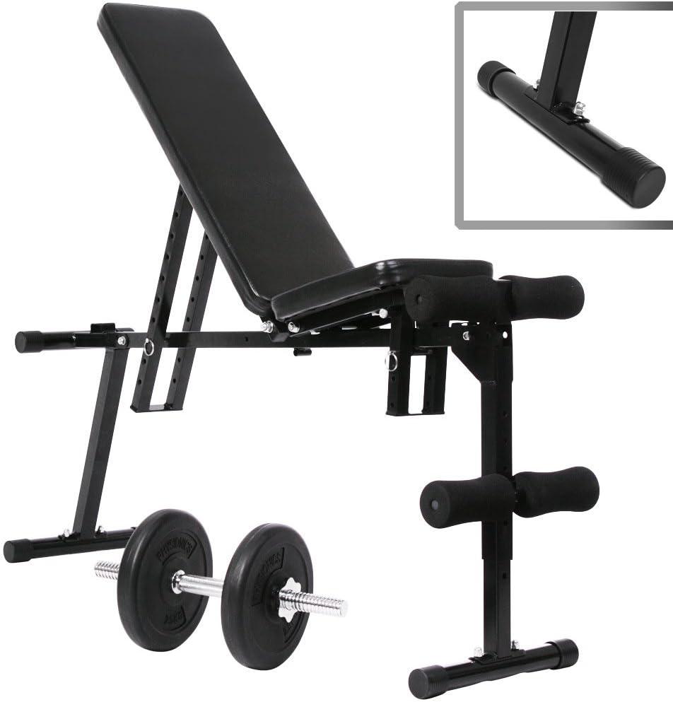 avec Inclinable Banc Plat avec Support de Barres D/évelopp/é Couch/é Inclinable pour la Gym /à Domicile et lentra/înement Complet du Corps YMXH Pliable Banc de Musculation R/églable
