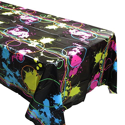 Blue Orchards Glow Party Tablecovers (2), Glow Birthdays, Party Supplies, Black Light Decorations -