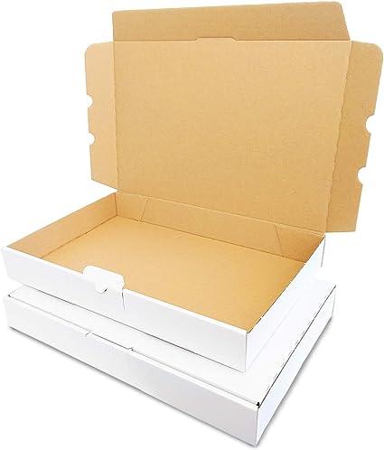 KartonProfis – Lote de 50 cajas 350 x 250 x 50 mm blanco cajas de Post plegables caja MB de 5: Amazon.es: Oficina y papelería