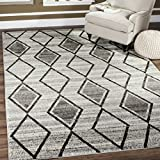 Safavieh TUN296K-5 Tunisia Collection and Black Area Rug, 5'1″ x 7'6″, Grey