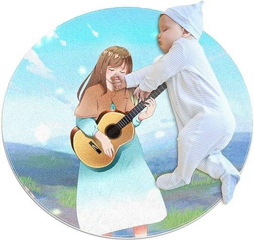 Chica De Dibujos Animados Tocando La Guitarra Alfombra Redonda ...