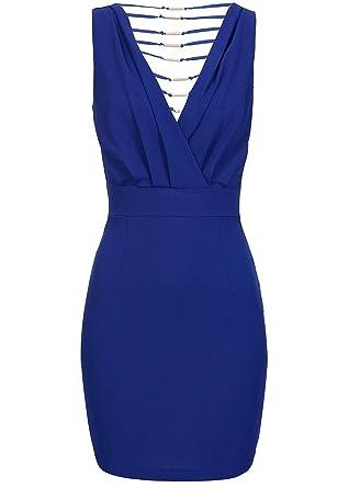 violet Fashion Damen Kleid kurz Reißverschluss seitlich Rücken teils offen  blau, Gr  M  Amazon.de  Bekleidung c729129c82