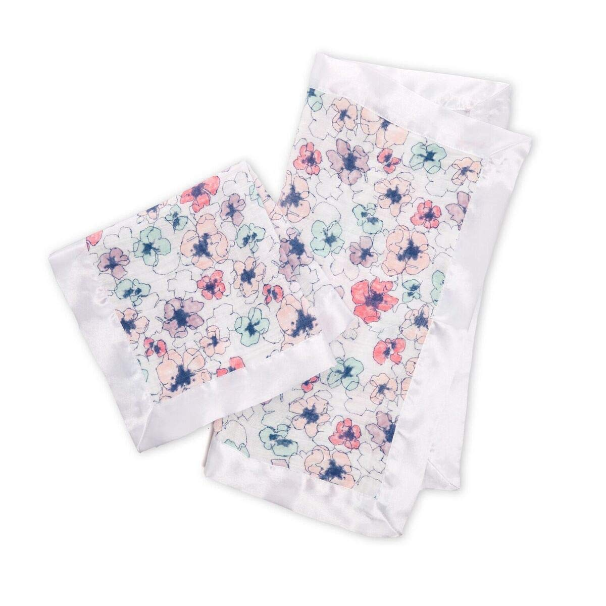 Aden + Anais Security Blanket, Satin Trim, Trail Blooms, 2-Pack