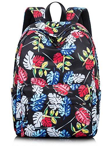Leaper Vintage Backpack Girls Bookbag Travel Bag Teens Laptop Bag Red Leaves-1 (Teen Bags One Strap Girls For)