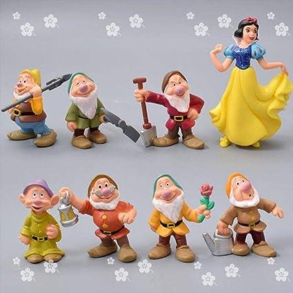 SHUANGBING Decoracion Escultura Estatua Un Conjunto De 8 Piezas Miniatura, Blancanieves Y Los Siete Enanitos Accesorios De Jardinería Terrario Accesorios: Amazon.es: Hogar