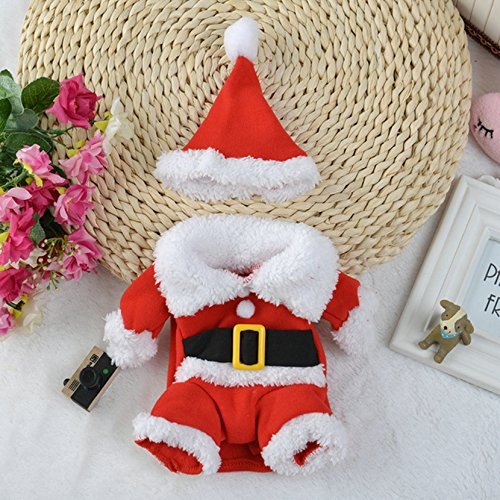 [Christmas Collection Pet Christmas Costumes Dog Suit with Cap Santa Claus Suit Dog Hoodies Cat Xmas] (Dog Grinch Costumes)