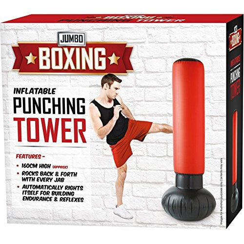 GoldStar/® Inflatable Punching Tower With Foot Pump Anti-Leak Water Weighted Base Punch Boxing Stress Relief Workout 62 Tall