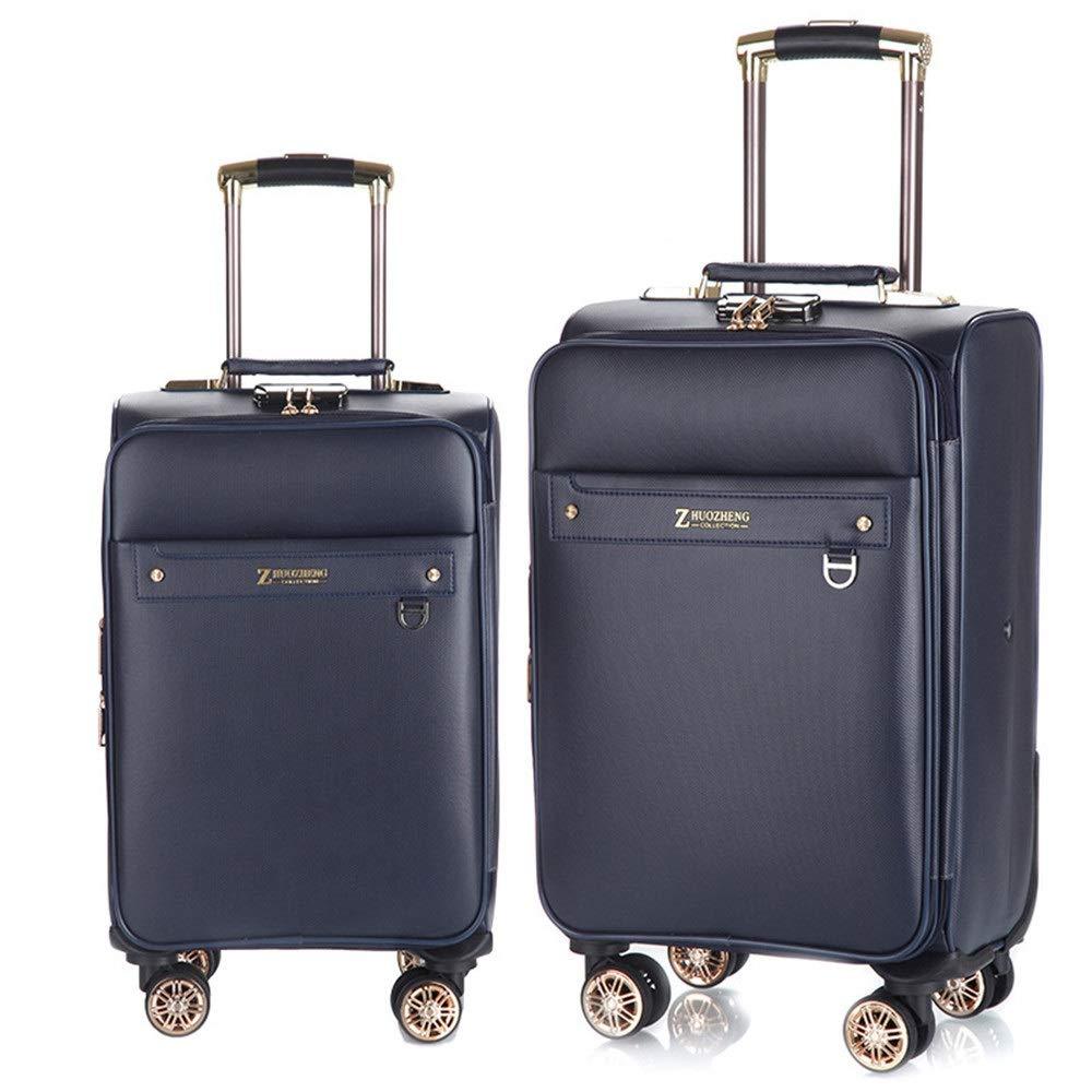 旅 ギスーツケース キャリーケース PUレザー防水拡張可能なアップライト荷物2ピース入れ子セットキャリーオンスーツケースソフトシェル軽量360°サイレントスピナー多方向ホイール(旅行用飛行機のフライト用)およびチェックイン20インチ24インチ (色 : 青, サイズ : 20in+24in) B07S9XSNZQ 青 20in+24in