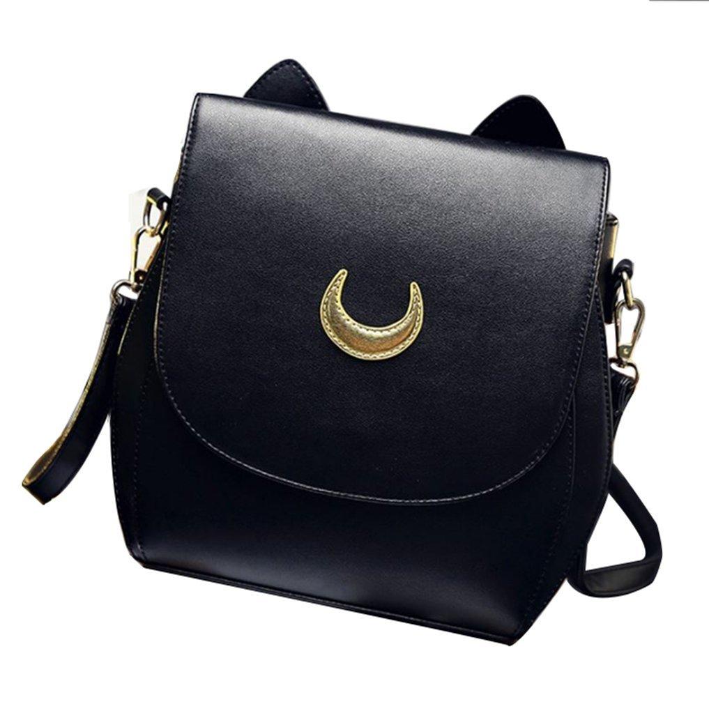 Sprite Beat PU Leather Women Mini Backpack Crossbody Bag Shoulder Bag Cat Small Backpack (Black)