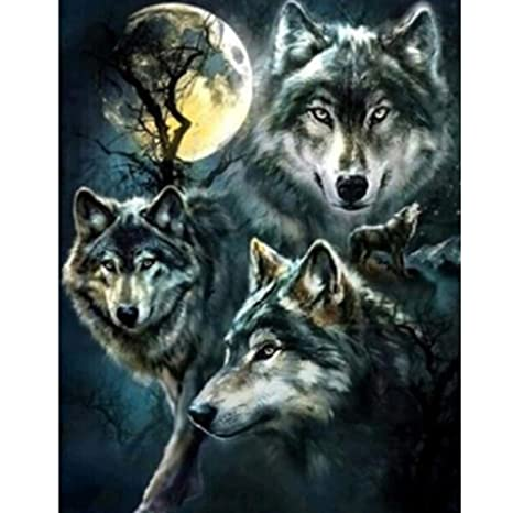 5D DIY Diamond Painting,Full Drill Rhinestone Arts Craft for Home Wall Decor Wolf 12x16 Inch