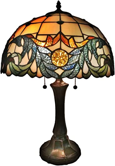 Tiffany Style Table Lamp Banker Jagged Edge 23″ Tall Stained Glass Tan Green Orange Mahogany Vintage AntiqueNight Stand Light D cor Living Room Bedroom Handmade Gift AM326TL16 Amora Lighting