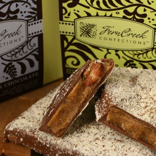 Milk Chocolate Butter Almond Toffee - Chocolate Almond Toffee in Gift Box by Fern Creek Confections - Dark Chocolate (8 ounce)