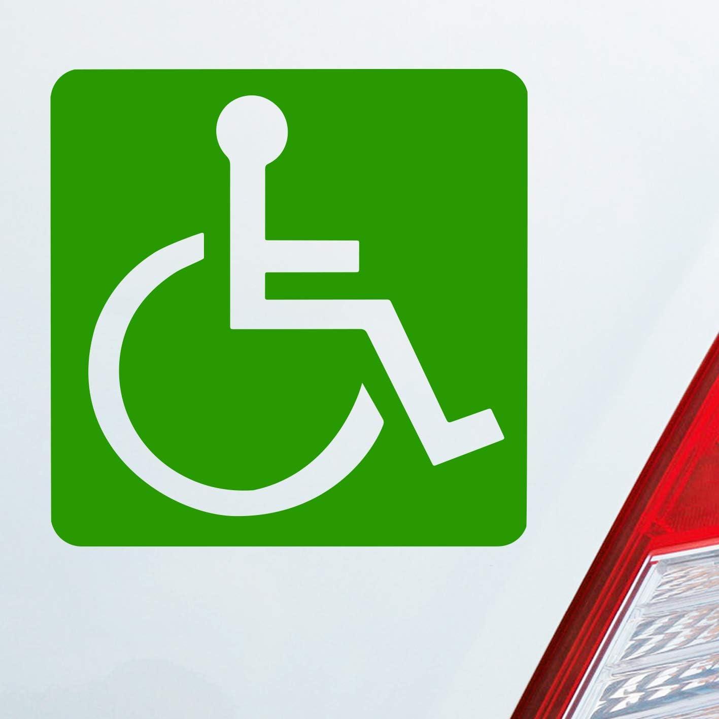 Auto Aufkleber In Deiner Wunschfarbe Rollstuhlfahrer Warnhinweis Rollstuhl 10 5x10 5cm Autoaufkleber Sticker Folie Auto