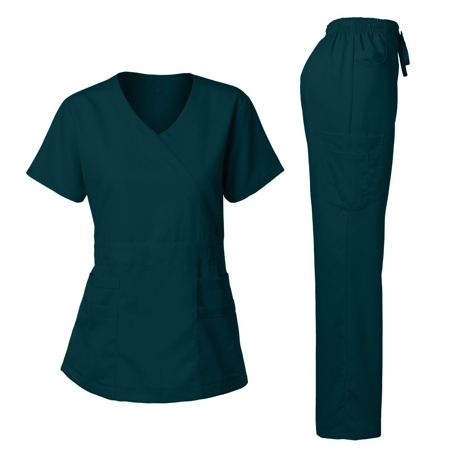 Women's Scrubs Set Stretch Ultra Soft Y-Neck Wrap Top and Pants Caribbean M