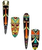 Hand Art Terracotta Home Decorative Multicolour Tribal Mask & Egyptian Mask Combo-4 Pcs