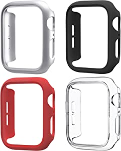Mugust 4 Pack Compatible for Apple Watch Case 44mm Series 6 5 4 SE, Hard PC Bumper Case Protective Cover Frame Compatible for iWatch 44mm, Clear/Black/Silver/Red