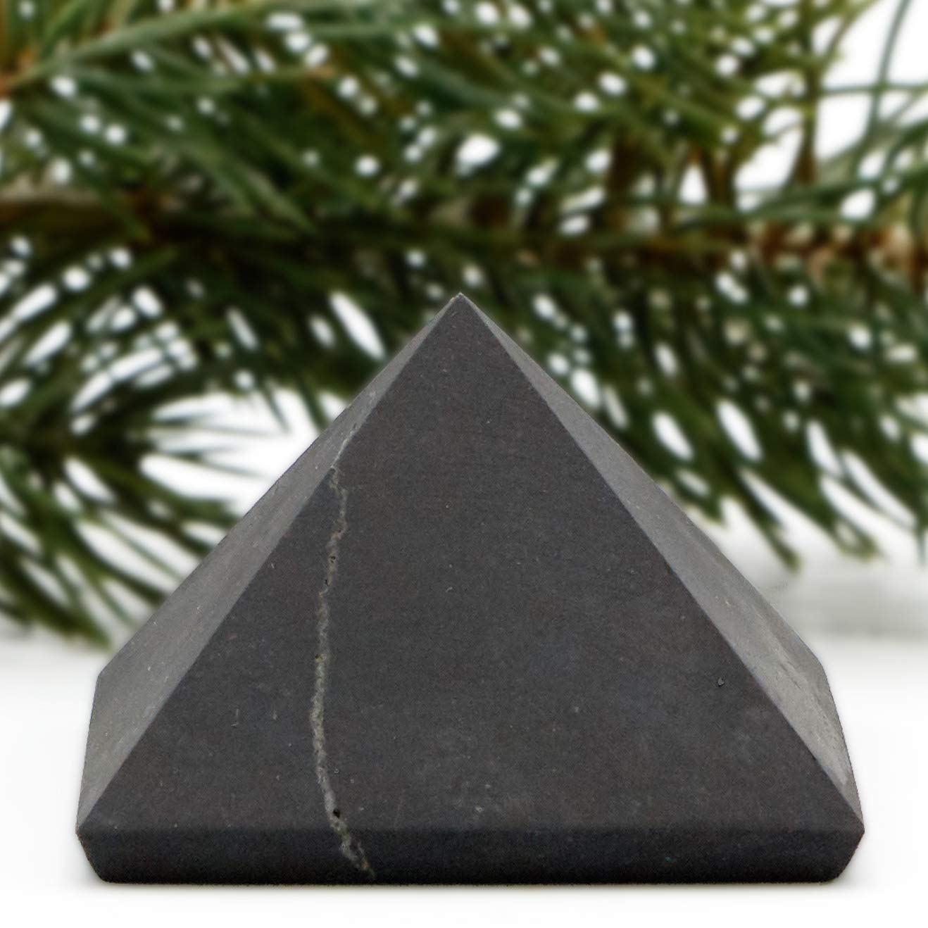 Stones Crystal Mineral Large UnPolished Shungite Power Pyramid from Russia 2 Inch
