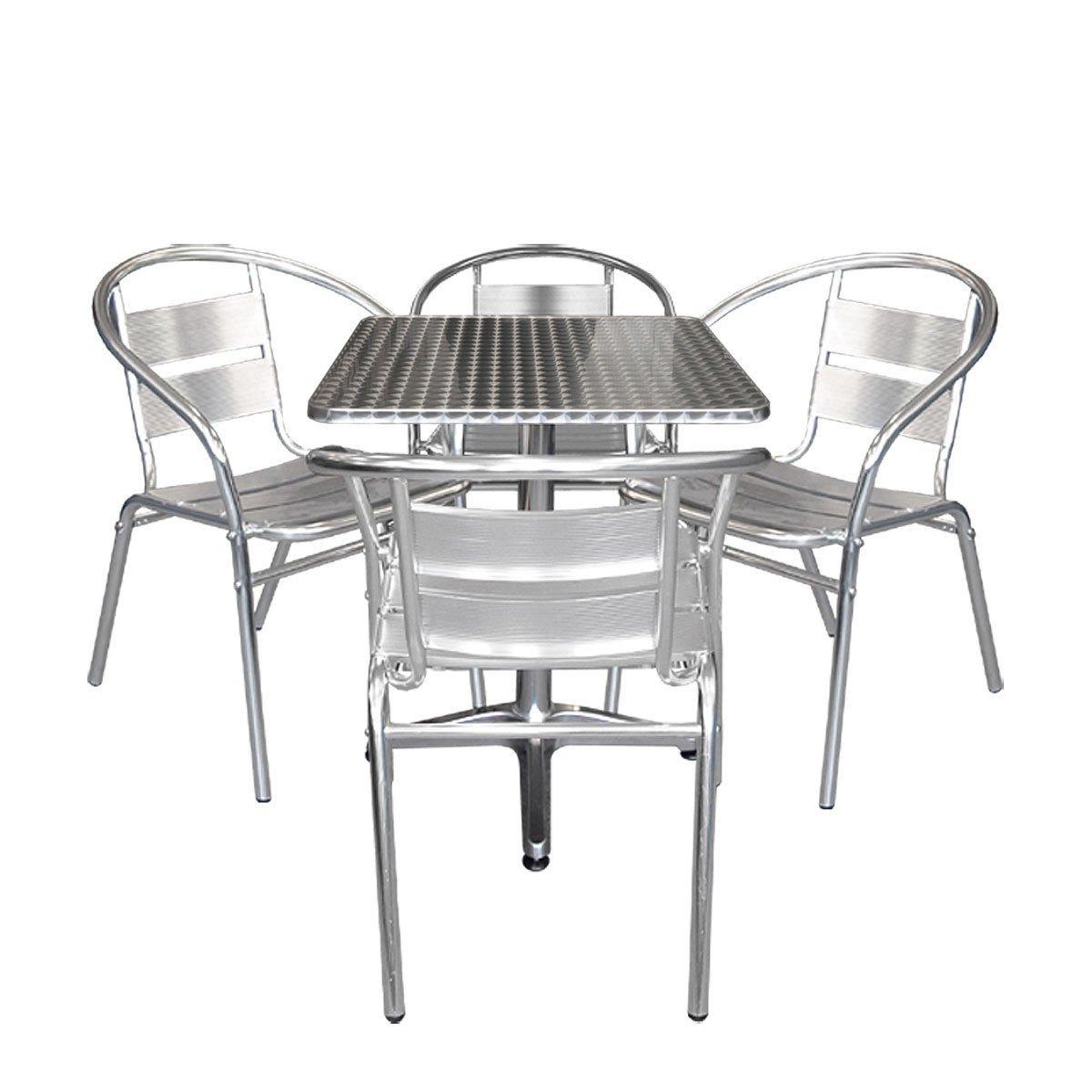 5tlg aluminium bistrom bel set bistrotisch aluminium tischplatte in schleifoptik 60x60cm. Black Bedroom Furniture Sets. Home Design Ideas