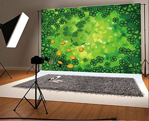 Laeacco 10x6.5ft Vinyl Photography Backdrop Shamrock Four Leaf Clover Background with Balloons St.Patrick's Day Lucky Irish Pot of Gold Bokeh Spring Photo Background Children Baby Adults Portraits ()