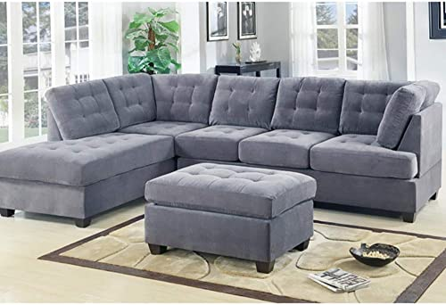 Casa AndreaMilano 2 Piece Modern Grey Soft Tufted Micro Suede Sectional Sofa Couch with Reversible Chaise Ottoman, L Shaped Sectionals Grey