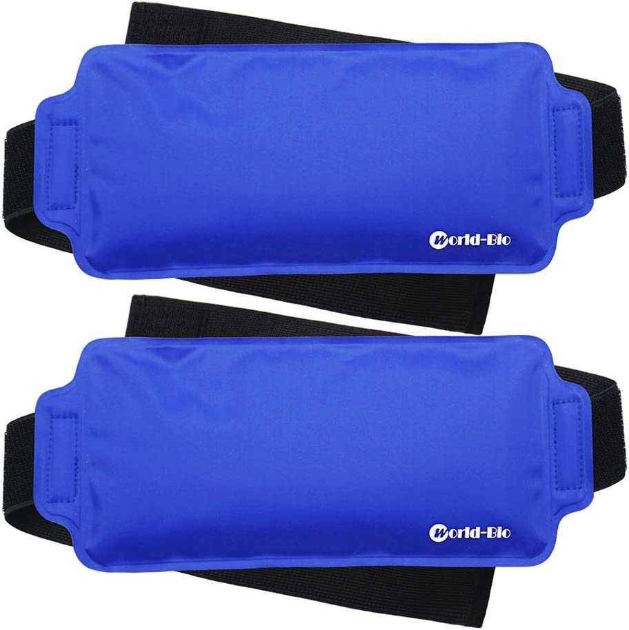 Ice Pack Wrap for Injuries Reusable (2-Piece Set) by WORLD-BIO, Flexible Gel Pack with Elastic Straps Support Surgery Recovery, Cooling Fever, Reduce Swelling, Alleviate Joint and Muscle Pain - Blue
