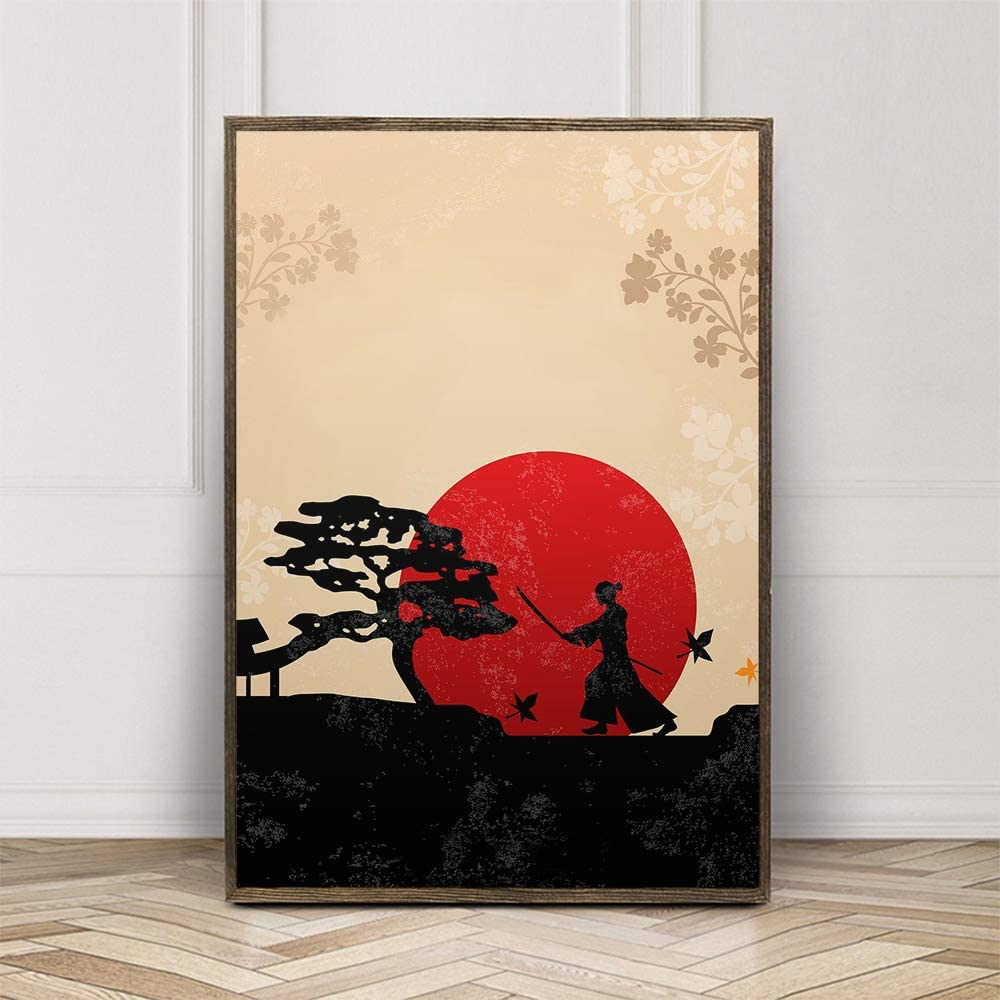 walldekor Japanese Style Oriental Art Print Poster Canvas Wall Art Picture, Unframed, for Home Decor (color7, 20x30 inch)