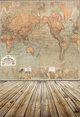 OFILA Vintage World Map Backdrop 5x7ft Retro Painting Wallpaper Hardwood Floor Decoration Adult Travel Photography Children Baby Kids Toddler Photos Portrait Digital Video Studio Prop (Hardwood Floor For Photography)
