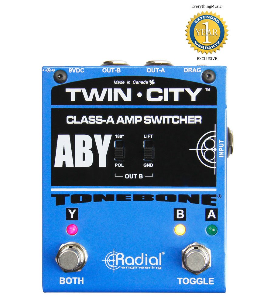 Radial Engineering Twin-City R800 7115 AB/Y Amp Switcher Pedal with 1 Year Free Extended Warranty