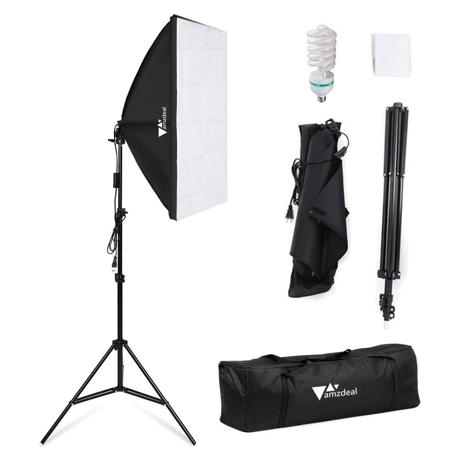 Amzdeal Softbox Lighting Kit Photography Studio Lighting Kit 20'' x 28'' Soft Box Lights for Video Photo with 85W Bulbs 79inch Stand Carry Bag