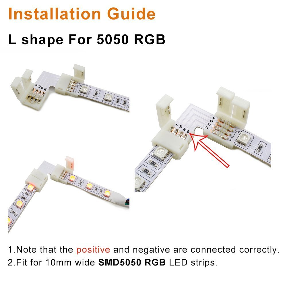 LightingWill 20pcs Pack L Shape Solderless Snap Down 4Conductor LED Strip Connector for Right Angle Corner or 90 Turning Connection for 10mm Wide 5050 RGB Flex LED Strips by LightingWill (Image #7)