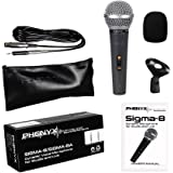 Phenyx Pro Wired Vocal Dynamic Handheld Microphone With XLR Cable, Mic Clip, Windscreen, Zipper Pouch, Ideal for Vocal, Studio, Instrument, Recording, Events (Sigma 8)
