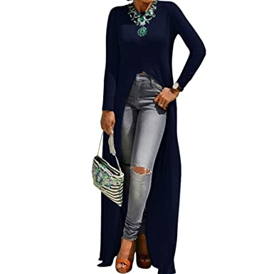 fe158de63a3 Long Tunic Floor Length Top Front Slit Duster Long Sleeve Scoop Neck  Fashion Top (Black