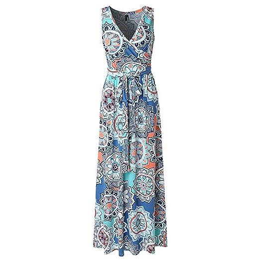 d9346cb945a0 Londony ◈ Women's Summer V Neck Floral Maxi Dress Casual Long Dresses  Bohemian Printed Wrap Bodice