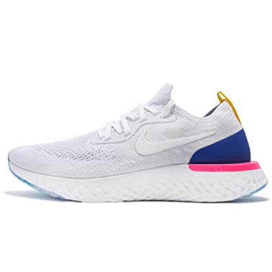 NIKE Men's Epic React Flyknit, White/Racer Blue, ...