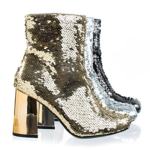 Metallic Trim Boot - Forever Link Abigale43 Gold Block Heel Sequins Ankle Bootie, Women's Metallic Party Shoes -7.5