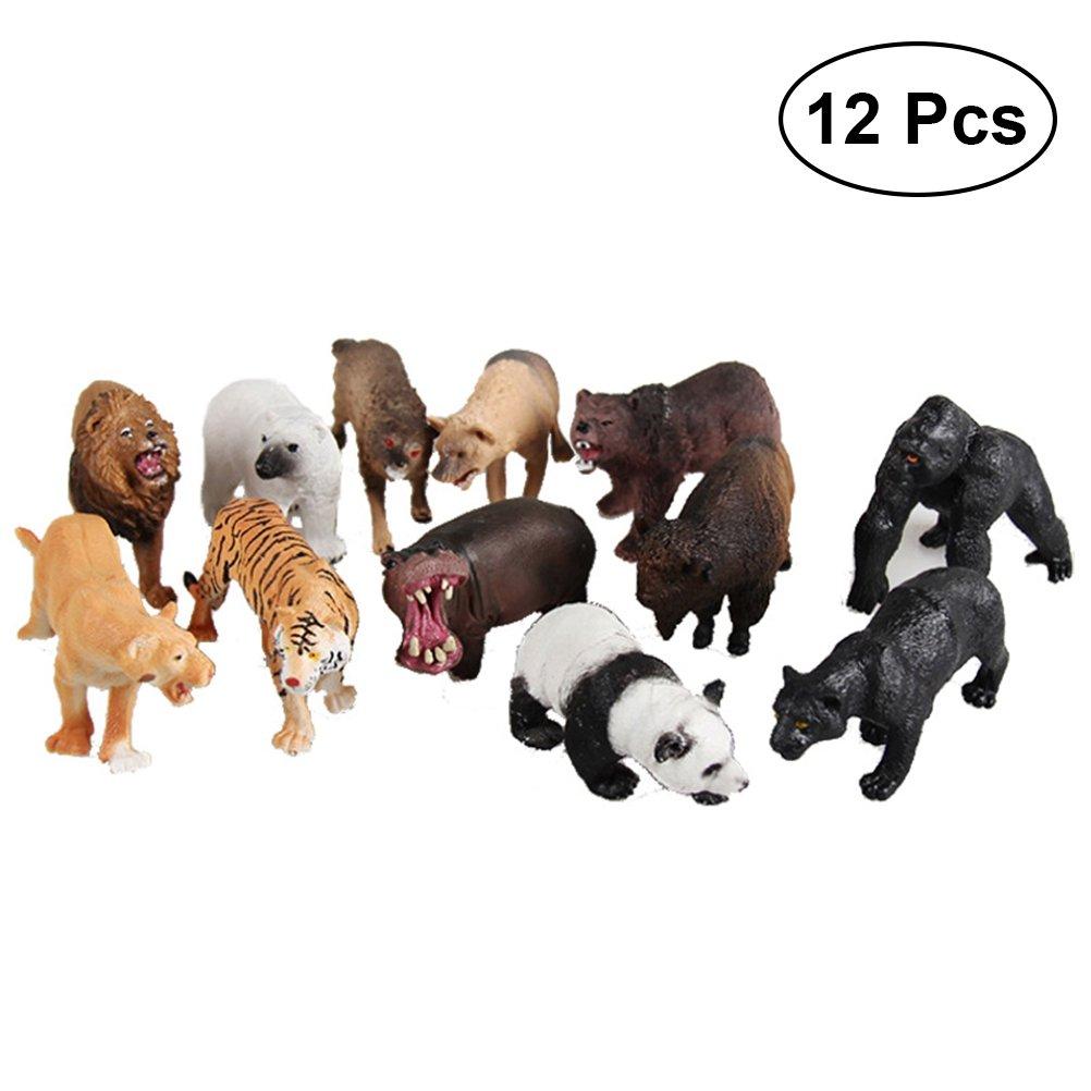 STOBOK Kunststoff Wald Tierfigur Pädagogisches Modell Spielzeug für Kinder (Sortiert) 12st