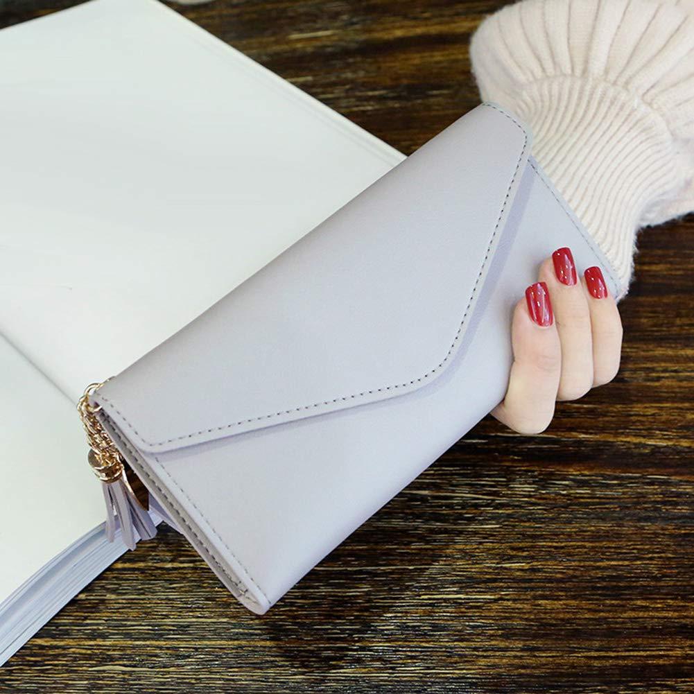 Aland Solid Color Faux Leather Women Long Purse Card Cash Holder Envelope Clutch Bag Purple by Aland (Image #6)
