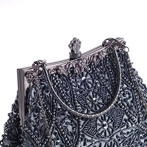Gift MASEE® Handbag Bluegrey Seed Bead VENI Evening Exquisite Antique Soft Ideas Seed Bag Bead Leaf Floral Collection Colors Z Evening Clutch Various Clutch Sequin Sequined HSUqdSw