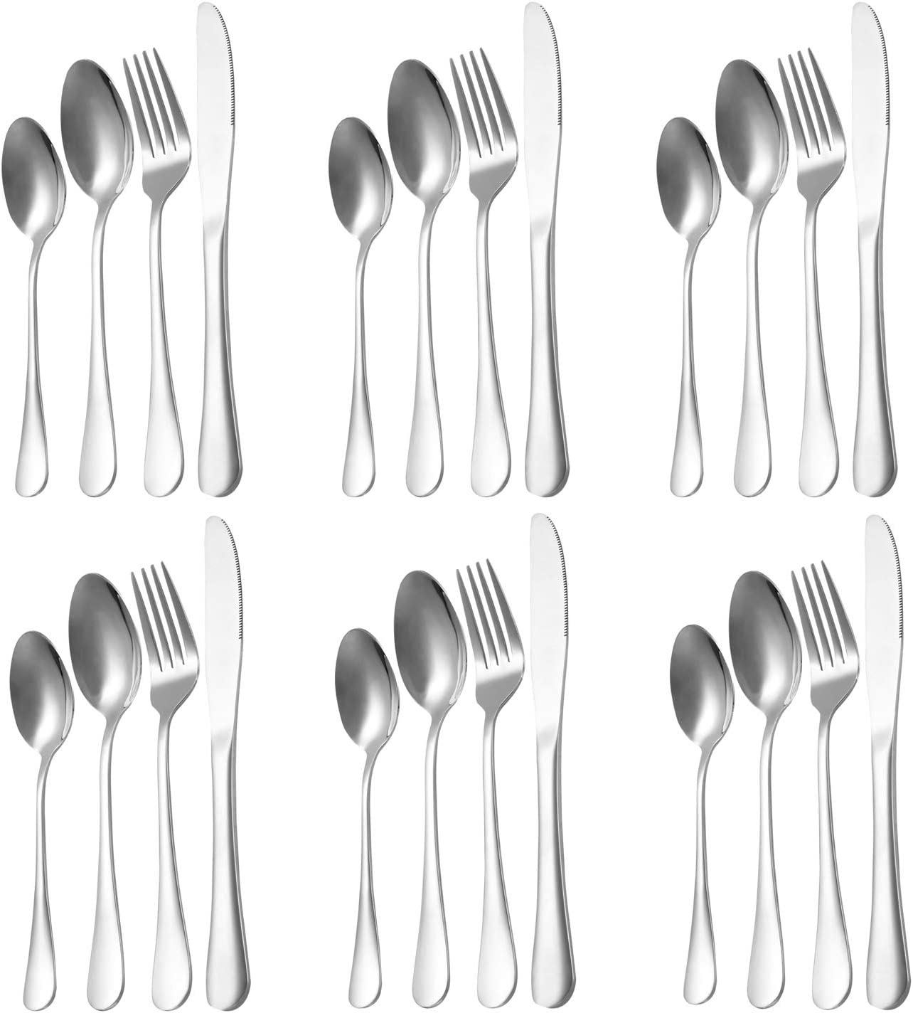 MEGOO 24-Piece Silverware Flatware Cutlery Set Service For 6,Stainless Steel Utensils Set For Home Kitchen Restaurant Hotel,Mirror Polished,Stain And Rust Resistant,Knife/Fork/Spoon,Dishwasher Safe