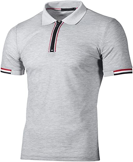 HOYURI Mens Summer Casual Slim Fit Henley Cotton Solid Color Short Sleeve Shirt T-Shirt Top Blouse Tees