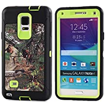 MOONCASE Galaxy Note 4 Case, [Realtree Camo Series] 3 Layers Heavy Duty Defender Hybrid Soft TPU +PC Bumper Triple Shockproof Drop Resistance Protective Case Cover for Samsung Galaxy Note 4 -Green Tree